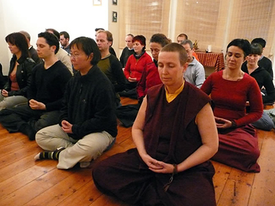 Students in Sydney practising meditation
